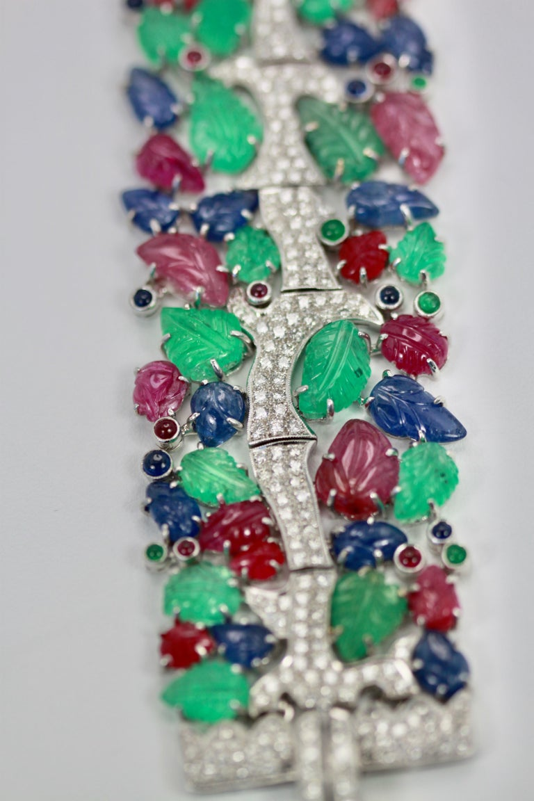 This gorgeous Tutti Frutti Bracelet is amazing.  I have owned several but this is the largest widest bracelet I have ever found.  It is stunning.  This bracelet is 7 1/2