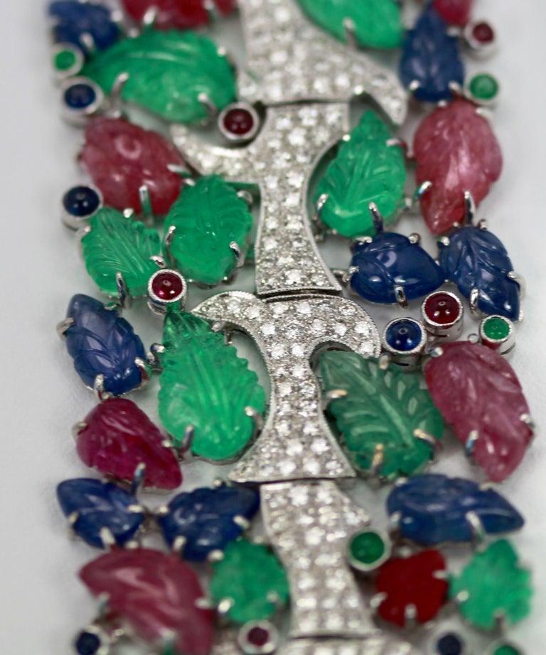 Brilliant Cut Tutti Frutti Carved Stones Diamond Bracelet 18 Karat Wide For Sale
