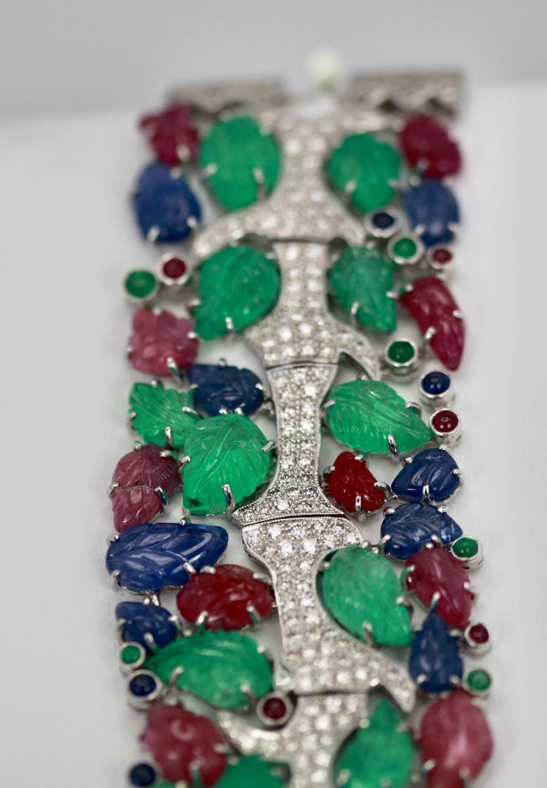 Tutti Frutti Carved Stones Diamond Bracelet 18 Karat Wide In Excellent Condition For Sale In North Hollywood, CA