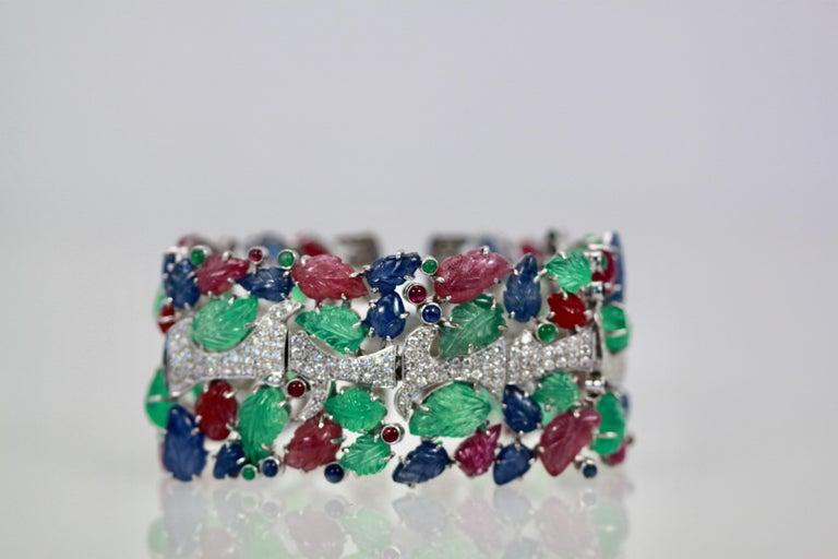 Women's Tutti Frutti Carved Stones Diamond Bracelet 18 Karat Wide For Sale