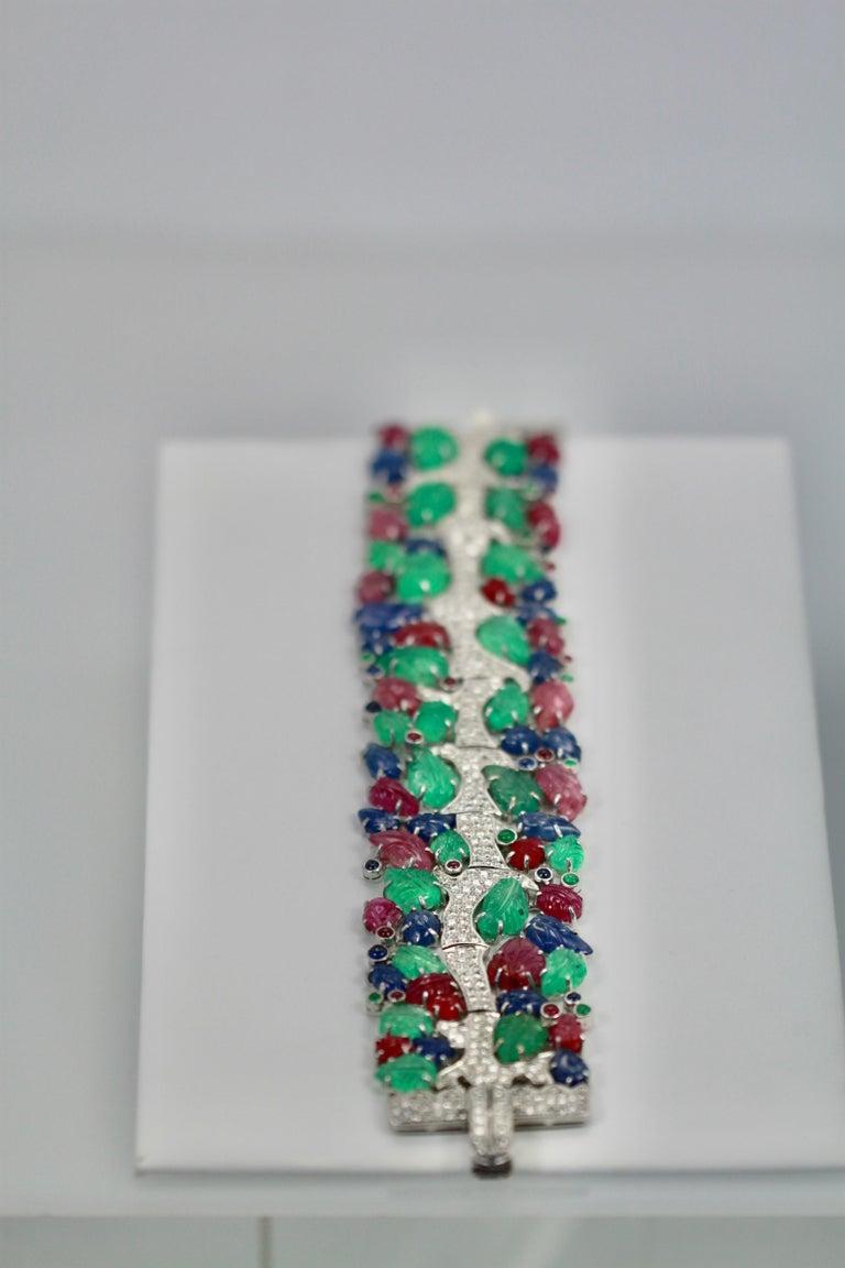 Tutti Frutti Carved Stones Diamond Bracelet 18 Karat Wide For Sale 2