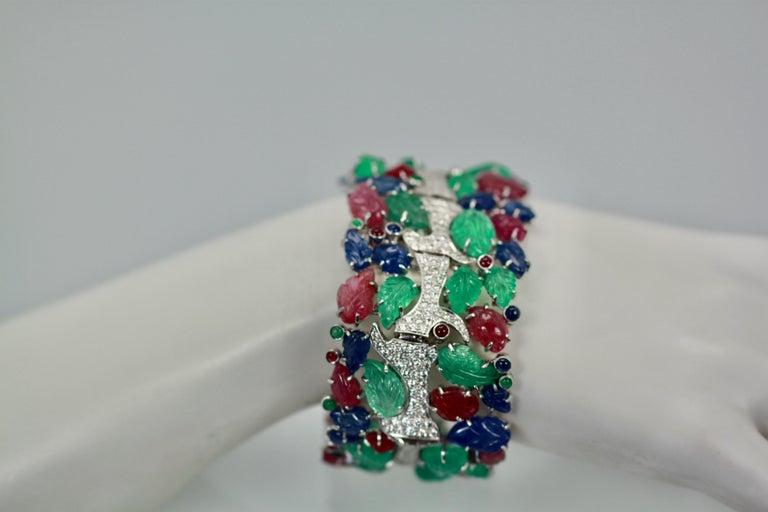 Tutti Frutti Carved Stones Diamond Bracelet 18 Karat Wide For Sale 3