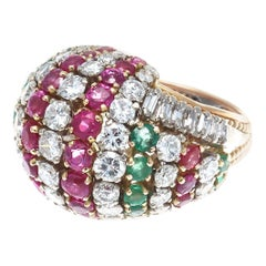 Tutti Frutti Diamond Ruby Emerald Gold Cocktail Ring