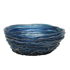 Tutti Frutti I Medium Resin Basket in Clear Blue and Silver by Gaetano Pesce