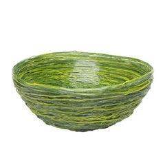 Tutti Frutti I Medium Resin Basket in Matt Green and Yellow by Gaetano Pesce