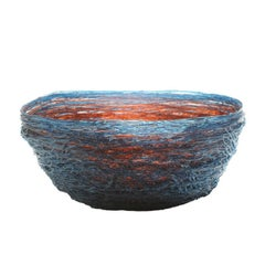 Tutti Frutti I Special Large Resin Basket in Blue and Dark Ruby by Gaetano Pesce