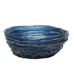 Tutti Frutti I XXL Resin Basket in Clear Blue and Silver by Gaetano Pesce