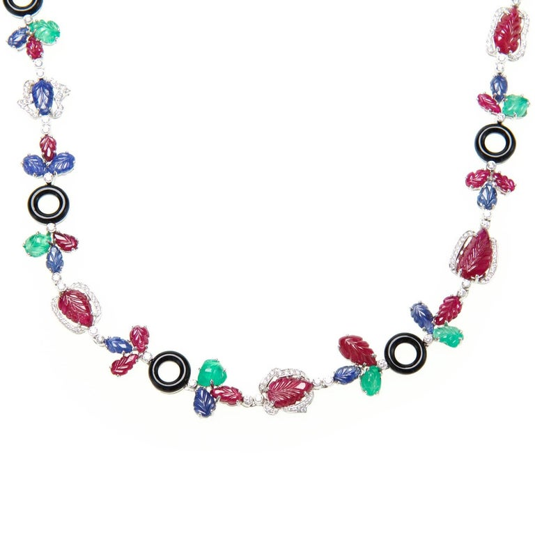 Multi Gem Necklace With Diamonds, Rubies, Sapphires, Emeralds, and Onyx For Sale
