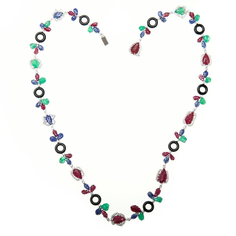 Contemporary Multi Gem Necklace With Diamonds, Rubies, Sapphires, Emeralds, and Onyx For Sale