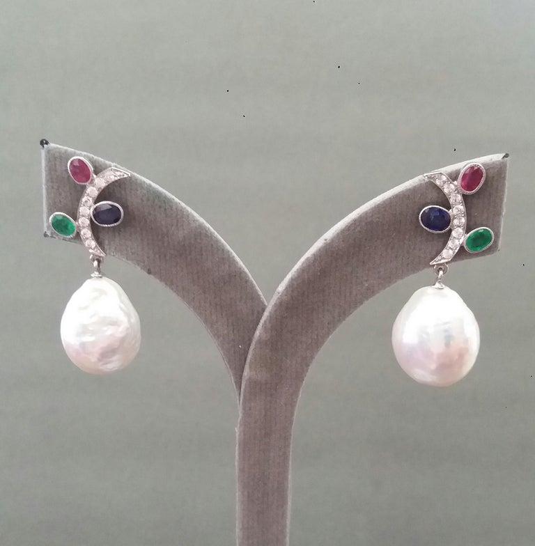 Tutti Frutti Rubies Sapphires Emeralds 14K Gold Diamonds Baroque Pearls Earrings For Sale 4