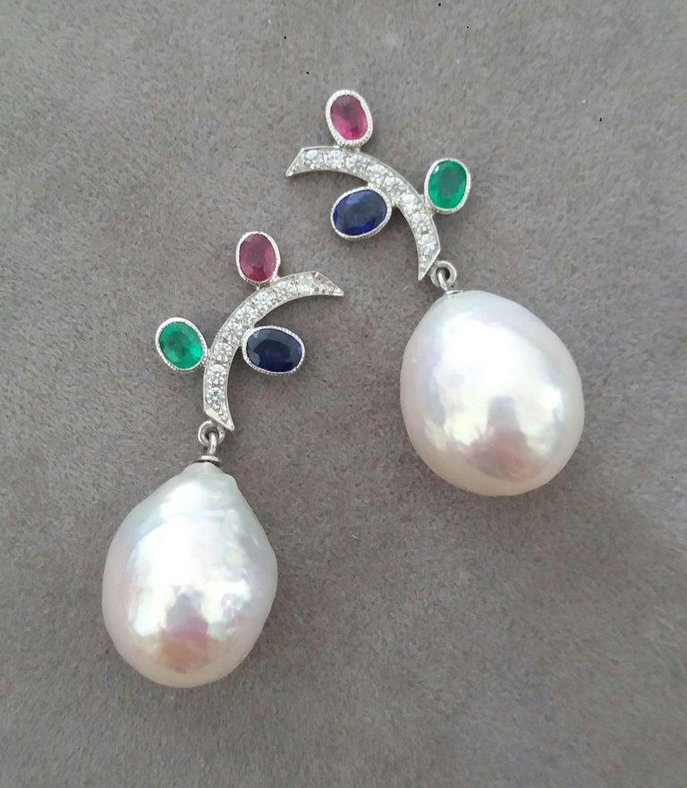 Art Deco Tutti Frutti Rubies Sapphires Emeralds 14K Gold Diamonds Baroque Pearls Earrings For Sale