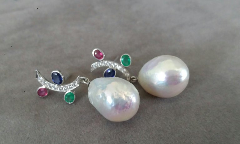 Oval Cut Tutti Frutti Rubies Sapphires Emeralds 14K Gold Diamonds Baroque Pearls Earrings For Sale