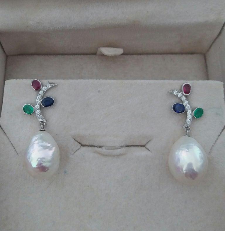 Women's Tutti Frutti Rubies Sapphires Emeralds 14K Gold Diamonds Baroque Pearls Earrings For Sale