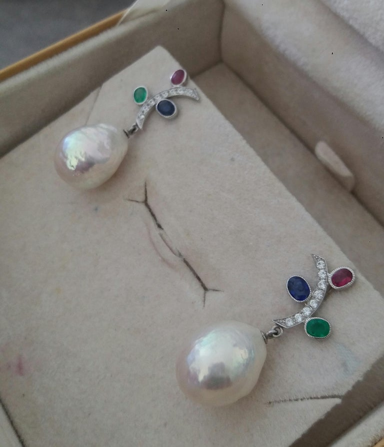 Tutti Frutti Rubies Sapphires Emeralds 14K Gold Diamonds Baroque Pearls Earrings For Sale 1