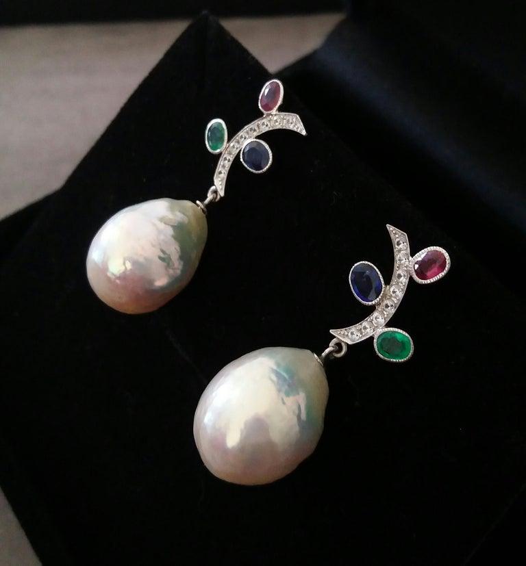 Tutti Frutti Rubies Sapphires Emeralds 14K Gold Diamonds Baroque Pearls Earrings For Sale 3