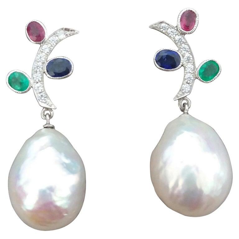 Tutti Frutti Rubies Sapphires Emeralds 14K Gold Diamonds Baroque Pearls Earrings For Sale