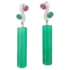 Tutti Frutti Rubies Sapphires Emeralds Gold Diamonds Jade Cylinders Earrings