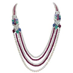 Tutti Frutti Ruby Bead and Cultured Pearl Necklace