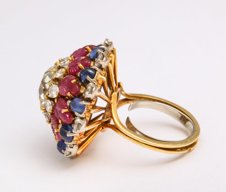 Retro Tutti Frutti Ruby Sapphire Diamond Gold Cocktail Ring For Sale
