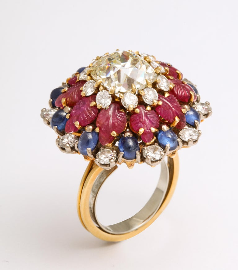 Tutti Frutti Ruby Sapphire Diamond Gold Cocktail Ring In Excellent Condition For Sale In New York, NY