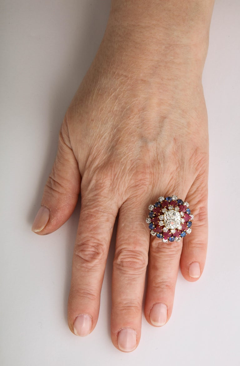 Women's Tutti Frutti Ruby Sapphire Diamond Gold Cocktail Ring For Sale