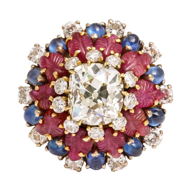 Tutti Frutti Ruby Sapphire Diamond Gold Cocktail Ring For Sale