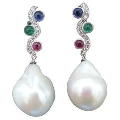Tutti Frutti Ruby Sapphire Emerald Gold Diamonds Baroque Pearls Dangle Earrings