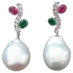 Tutti Frutti Style Rubies Emeralds Gold Diamonds White Baroque Pearls Earrings