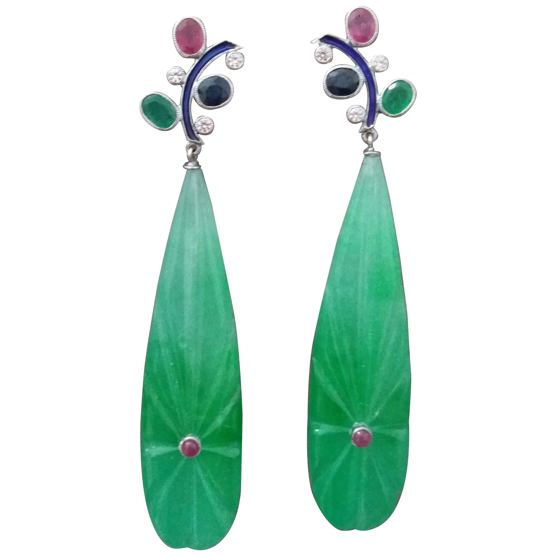 Tutti Frutti  Ruby Sapphire Emerald Gold Diamonds Enamel Jade Dangle Earrings