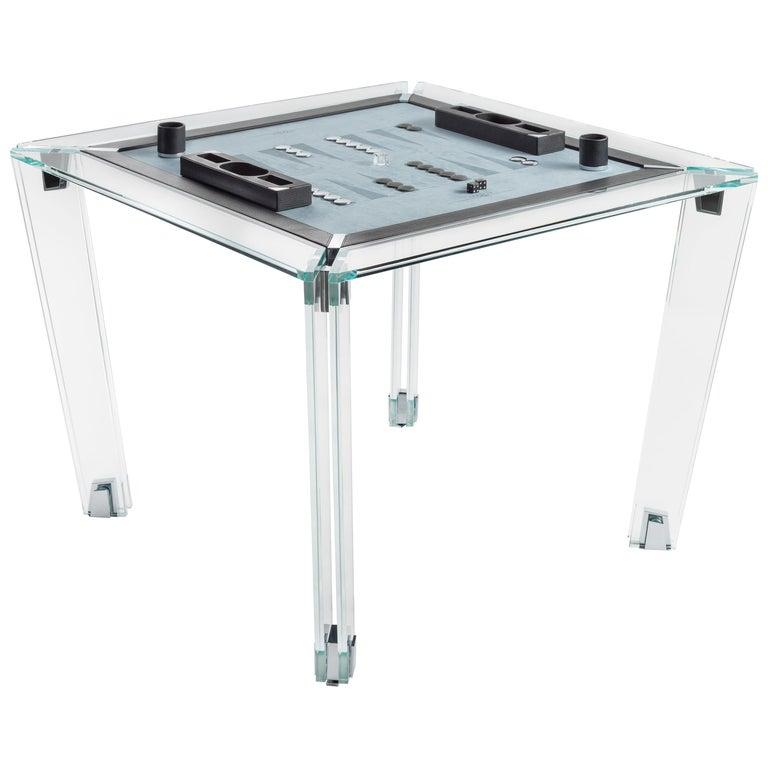 Tuttuno Leather Edition Backgammon Game Table by Impatia For Sale