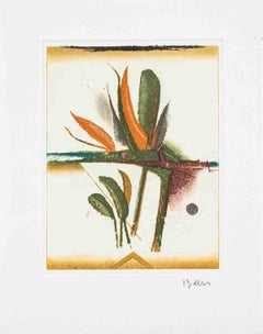 "Tuvia Beeri-Paysage-7.5"" x 5.75""-Etching-Multicolor-bird of paradise, flower"