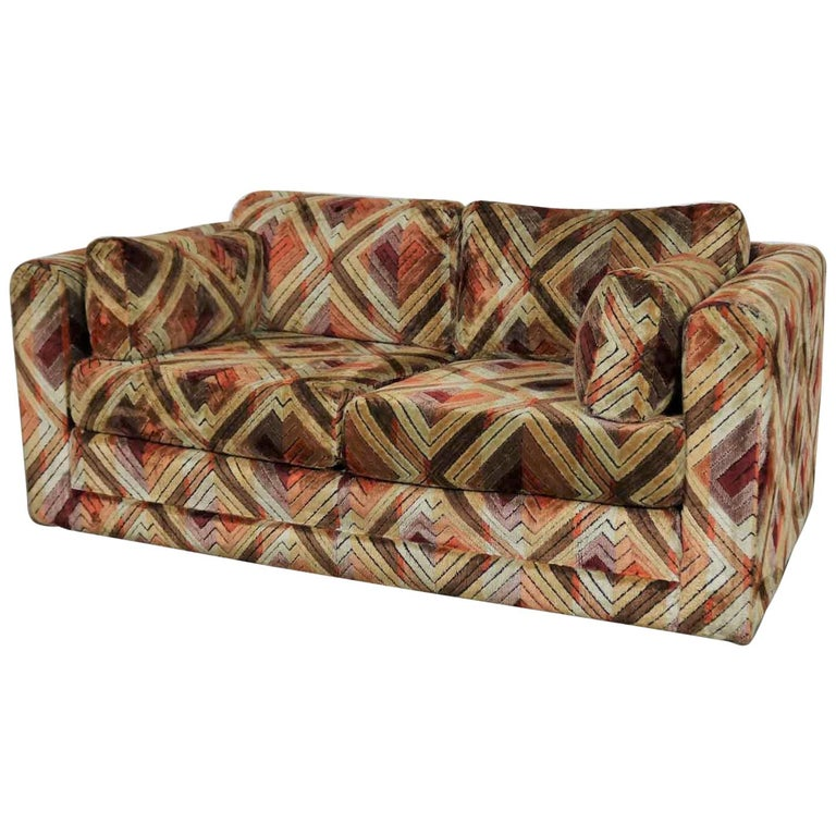 Fine Tuxedo Mod Loveseat Sofa In Jack Lenor Larsen Style Fabric Customarchery Wood Chair Design Ideas Customarcherynet
