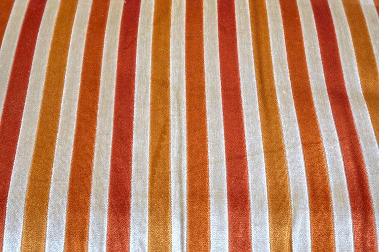 Tuxedo sofa by Milo Baughman for Thayer Coggin in original striped velvet fabric Model J1793.