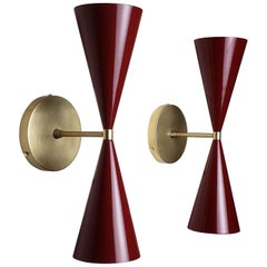 Tuxedo Wall Sconce in Brass + Blood Red Enamel  by Blueprint Lighting Nyc