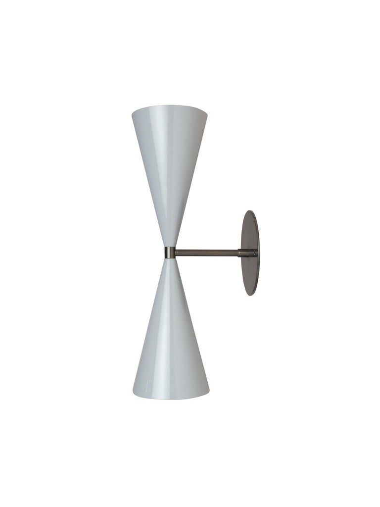 Modern Tuxedo Wall Sconce in Oil-Rubbed Bronze and Gray Enamel, Blueprint Lighting For Sale