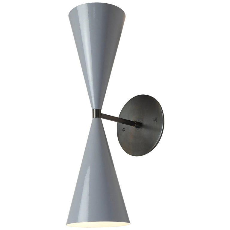 Tuxedo Wall Sconce in Oil-Rubbed Bronze and Gray Enamel, Blueprint Lighting For Sale