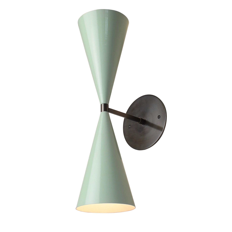 Tuxedo Wall Sconce in Oil-Rubbed Bronze & Mint Green Enamel, Blueprint Lighting