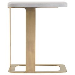 Tuya Drink Table, Contemporary Side Table in Grey Limed Oak, Light Bronze Base