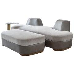 Tuya Ottoman, Contemporary Footstool, Holly Hunt Fabric and Bronze Patina Feet