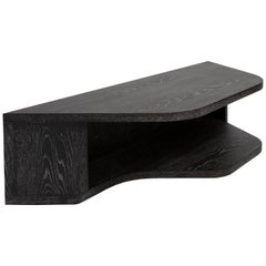 Tuya Sofa Back Table, Contemporary Ebonized Limed Oak Side Table