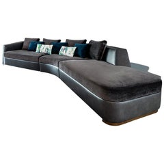 Tuya Sofa, Contemporary Sectional in Holly Hunt Fabrics, Dark Bronze Patina Feet
