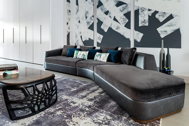 Modern Tuya Sofa, in off White Holly Hunt Fabrics, Dark Bronze Patina Feet For Sale