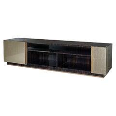 TV Cabinet Polished Ebony & Vetrite Antique Bronze Finish Matt Lacquer Inter Led