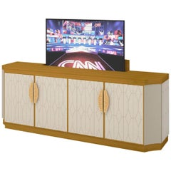 TV Cabinet Structure Distressed Paint Finish Quilted Fabric Smoke Mirror Led Ins