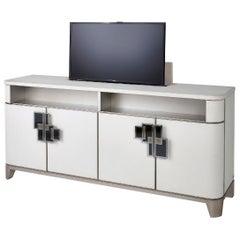 TV Cabinet Upholstered Nabuk Handle Paint Finish or Chrome Decorated with Mosaic