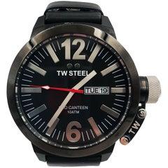 TW Steel Black PVD Day Date Black on Black Leather Quartz Men's Watch CE1032