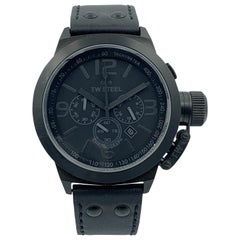 TW Steel Canteen Chronograph Cool Black Dial Black Leather Men's Watch
