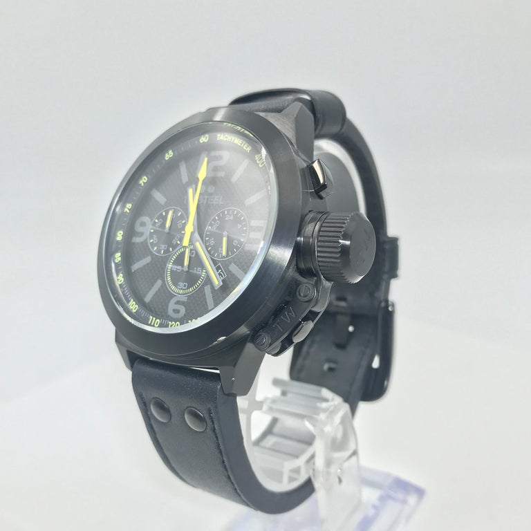 TW Steel Chronograph Stainless Steel Black Dial Quartz Men's Watch TW900 In Excellent Condition For Sale In New York, NY