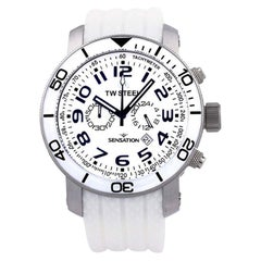 TW-Steel Grandeur White Dial Chronograph White Rubber Men's Watch TW835