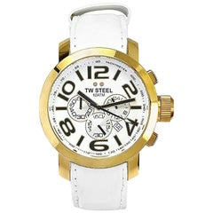 TW Steel Men's 'Grandeur' Quartz Gold-Tone and Leather Casual Watch TW55